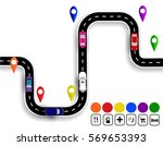 winding road with signs....   Shutterstock .eps vector #569653393