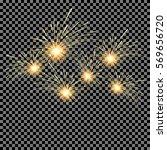 set of fireworks on isolated... | Shutterstock .eps vector #569656720