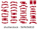 vector red banner ribbons. set... | Shutterstock .eps vector #569656810