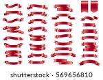 vector red banner ribbons. set... | Shutterstock .eps vector #569656810
