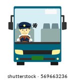 tourist bus with driver | Shutterstock . vector #569663236