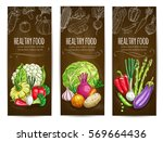 healthy vegetables banners.... | Shutterstock .eps vector #569664436