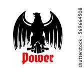 black heraldic eagle icon.... | Shutterstock .eps vector #569664508