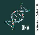 medicine poster with dna symbol.... | Shutterstock .eps vector #569666218