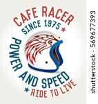 cafe racer helmet poster  ride... | Shutterstock .eps vector #569677393