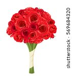 vector bouquet of red roses... | Shutterstock .eps vector #569684320