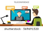 teleconference concept. video... | Shutterstock .eps vector #569691520