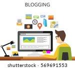 blogger writing article.... | Shutterstock .eps vector #569691553