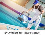 swimming pools technician with... | Shutterstock . vector #569695804