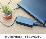 battery charge on laptop... | Shutterstock . vector #569696050