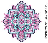indian floral paisley medallion ... | Shutterstock .eps vector #569705344