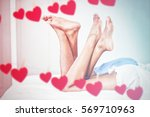 hearts hanging on a line... | Shutterstock . vector #569710963