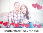 hearts hanging on a line... | Shutterstock . vector #569714458