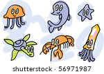 sea-life doodles: jellyfish, dolphin, starfish, turtle, lobster, squid