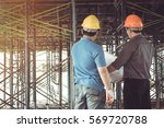 two business man construction... | Shutterstock . vector #569720788