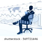 businessman in chair looking at ... | Shutterstock .eps vector #569721646