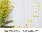 Summer Flowers On Wooden...