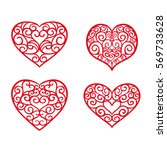 set hand drawn hearts. design... | Shutterstock .eps vector #569733628