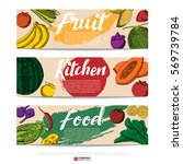 food hand draw banner ... | Shutterstock .eps vector #569739784