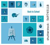 school and education icon set.... | Shutterstock .eps vector #569745118