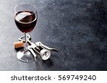 Red Wine Glass And Corkscrew O...