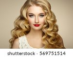 beautiful girl with long wavy... | Shutterstock . vector #569751514
