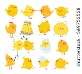 Set Of Cute Cartoon Chickens...