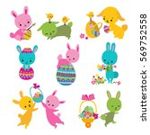 Set Of Cute Easter Bunny With...