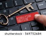closed up finger on keyboard... | Shutterstock . vector #569752684