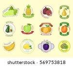 vector fruits badges. | Shutterstock .eps vector #569753818