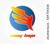 gradient red orange wing logo... | Shutterstock .eps vector #569754328