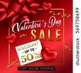 valentines day sale banner for...   Shutterstock .eps vector #569758699