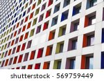 colored windows of the building.... | Shutterstock . vector #569759449