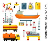 oil industry icons collection... | Shutterstock .eps vector #569764474