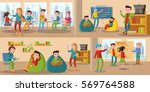 coworking center horizontal... | Shutterstock .eps vector #569764588