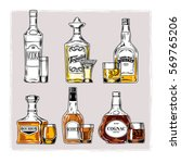 set of bottles with alcohol... | Shutterstock . vector #569765206