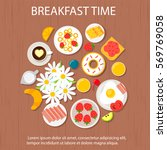 morning breakfast concept with... | Shutterstock .eps vector #569769058