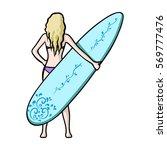 girl is holding a surfboard...   Shutterstock . vector #569777476