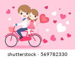 cute cartoon couple ride... | Shutterstock .eps vector #569782330