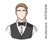 restaurant waiter with a bow... | Shutterstock . vector #569782648