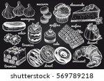 desserts set. vector... | Shutterstock .eps vector #569789218