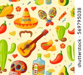 mexico icons seamless pattern... | Shutterstock .eps vector #569795038