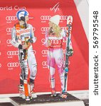 Small photo of STOCKHOLM, SWEDEN - JAN 31, 2017: Winner Linus Strasser (GER) and Mikaela Shiffrin (USA) on the podium at the FIS Alpine Ski World Cup - city event January 31, 2017, Stockholm, Sweden