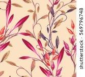 leaves seamless pattern. raster ... | Shutterstock . vector #569796748