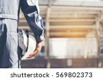 construction engineer in safety ... | Shutterstock . vector #569802373