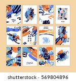 set of artistic creative cards... | Shutterstock .eps vector #569804896