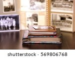 old albums with black and white ... | Shutterstock . vector #569806768