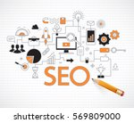 concept of seo technology  web... | Shutterstock .eps vector #569809000