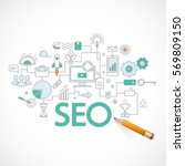 concept of seo technology  web... | Shutterstock .eps vector #569809150