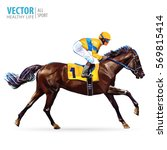 Stock vector jockey on horse champion horse racing hippodrome racetrack jump racetrack horse riding 569815414